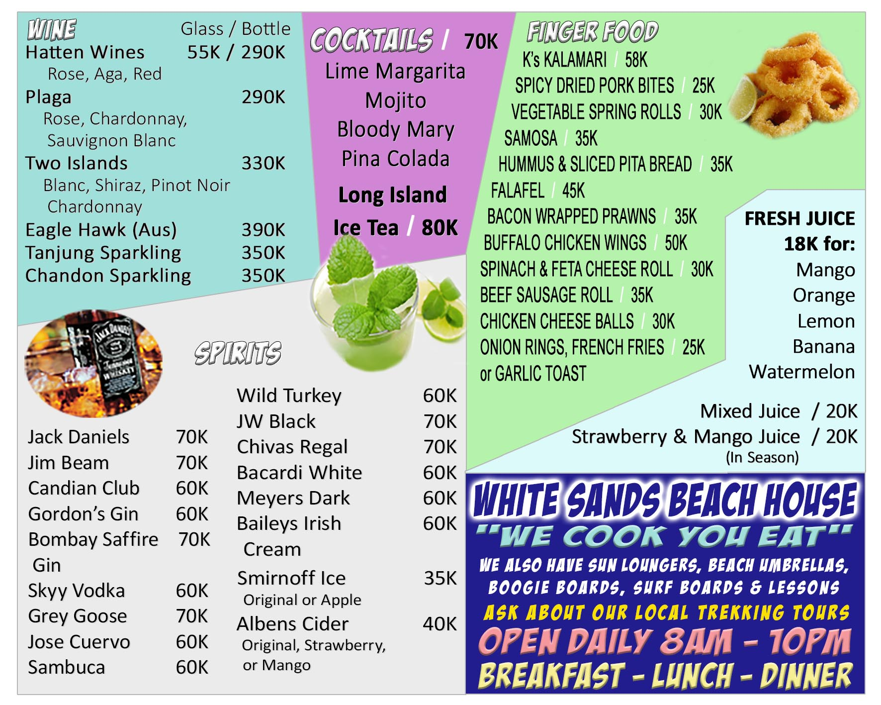 White Sands Beach House Jimbaran Beach Drink Menu